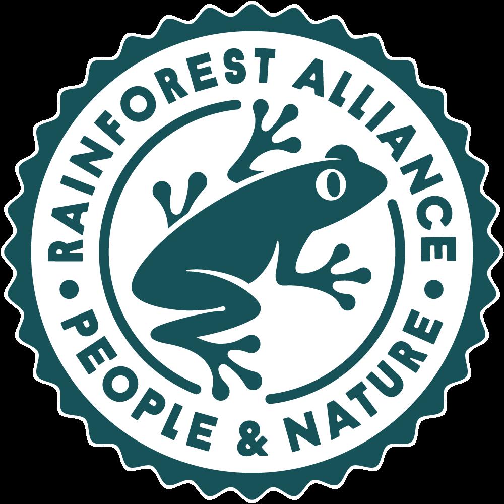 Rainforest logo voor eerlijke rooibos thee.